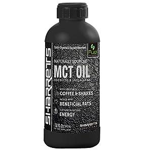 Sharrets® Medium chain triglycerides mct oil, Non GMO, Gluten Free [mct oil bulletproof, mct coconut oil, sports supplement, Caprylic Capric acid, mct oil keto] 946ml./32 Fl.Oz, Unflavored