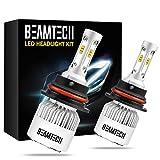 xenon headlights 9004 - BEAMTECH 9004 LED Headlight Bulbs, 6500K 8000 Lumens Extremely Super Bright CSP Chips Conversion Kit,Xenon White