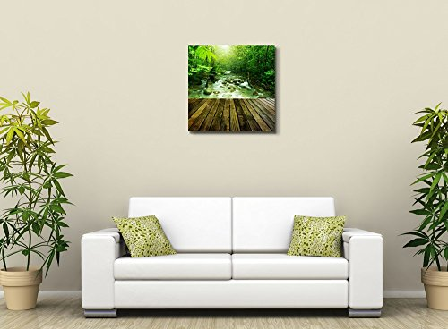 Wooden Platform and Tropical Mountain Stream with Sunbeam in a Morning Home Deoration Wall Decor ing