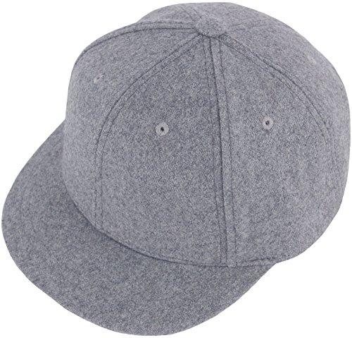 RaOn H100 Unisex Wool Basic Short Bill Cute HipHop Ball Cap Bill Snapback Flat Hat (Gray)