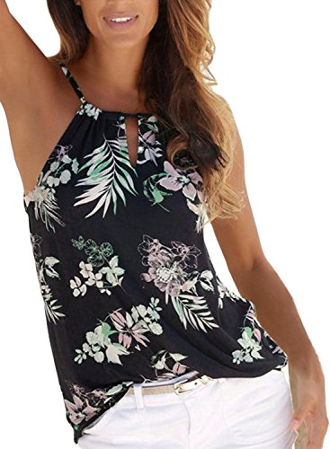 - Astylish Women's Summer Floral Print Cut Out Halter Cami Tank Tops Black X-Large Size 12 14