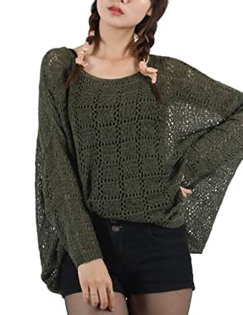 Roobin Avenue Womens Square Pattern Open Knit Sweater (WK107) Green
