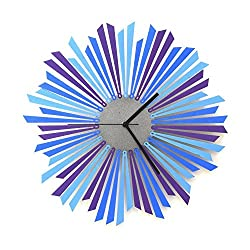 The Moon - Stylish Blue / Purple / Silver Wooden Wall Clock, a Piece of Wall Art
