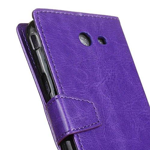 Cristal de grano de cuero de la PU de la carpeta de la caja del teléfono caja de la bolsa cubierta suave de silicona con ranuras de efectivo de la tarjeta y función de pie para Samsung Galaxy J7 2017  Purple