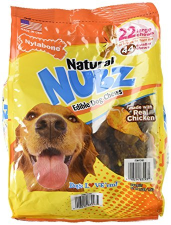 Nylabone-Natural-NUBZ-Edible-Dog-Chews-Made-with-Real-Chicken-Promotes-Dental-Health-26lb-Bag-22-Large44-Small-Chews