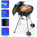 Wemk Portable Thickened Stainless Steel Charcoal Grill with 18in Cooking Grate, Barbecue Tool Sets Outdoor Smoker BBQ Removable Kettle Grills for Home Garden Backyard Tailgate Party Camping Picnic