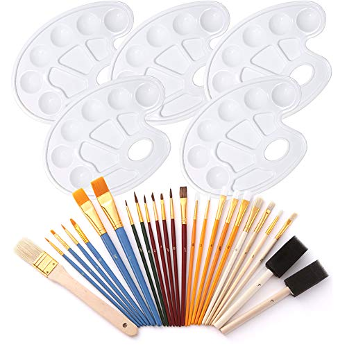 Habbi 5 Pcs Paint Tray Palette, White Plastic Paint Tray with 25 Pcs Paint Brush Set, Craft Paint Holder Tray with Brushes for Painting