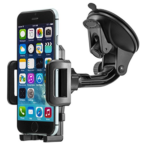 Universal 360° drehbar KFZ Auto Handy Smartphone Halterung Halter für Apple iPhone SE, 5, 5S, 6, 6S, 7, 7 Plus / Samsung Galaxy S5, S6, S7, S7 Edge, Note 4, Note 7, Note Edge / Huawei P8, P9, Lite, Plus / Sony Xperia Z3, Z5, Premium, Compact, XZ, X / HTM M8, M9, M10 und andenre Handy, Smartphone, Phablet, Navigationsgeräte usw.