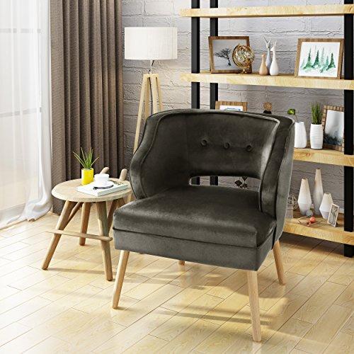 Cheap Michaela Mid Century Grey Velvet Accent Chair