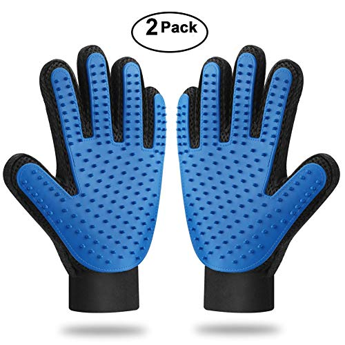 xjzx [Upgrade Version 2PCS Pet Grooming Glove – Gentle Deshedding Brush Glove – Efficient Pet Hair Remover Mitt – Massage Tool with Enhanced Five Finger Design – Perfect for Dogs & Cats, Blue