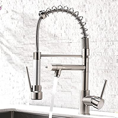 Aimadi Contemporary Kitchen Sink Faucet - Single Handle Stainless Steel Kitchen Faucets with Pull Down Sprayer , Brushed Nickel