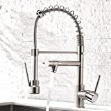 Aimadi Contemporary Kitchen Sink Faucet - Single Handle Stainless Steel Kitchen Faucets with Pull Down Sprayer,Brushed Nickel