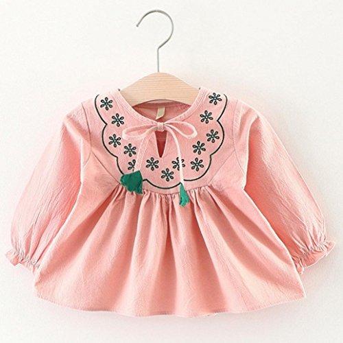 Omiky® 0-3 Jahre alte Herbst Baby Kinder Kleinkind Mädchen Blume Bandage Anzug Mini Kleid Tops Rosa