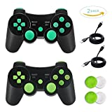TONSUM 2 Pack Bluetooth Dualshock3 Joystick Game Remote Sixaxis Control Gamepad Heavy-duty Game Accessories for PlayStation3 with Charger Cable (Blue and Green) Review