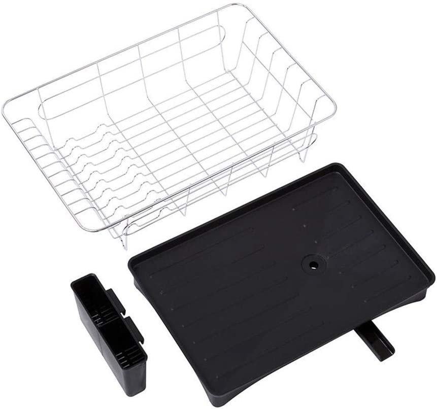 28 15.5 cm Dish Drainer Anti Rust with Cutlery Basket Drip Tray Black Dish Plate Sink Drying Rack Drainer for Kitchen 42