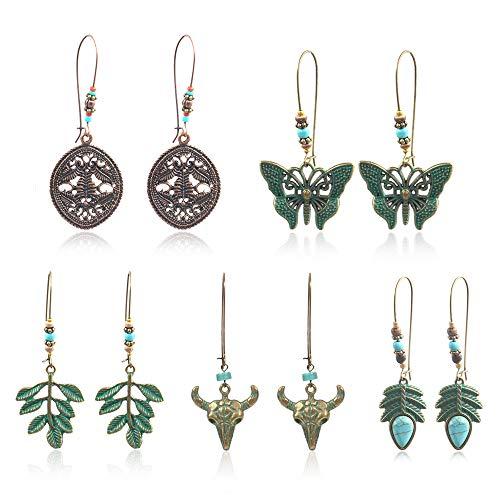COMMINY 5 Pairs Bohemian Vintage Dangle Drop Earrings, Metal Leaf Flower Shape Hollow Pendant Earrings Set Boho Chic Jewelry for Women Girls