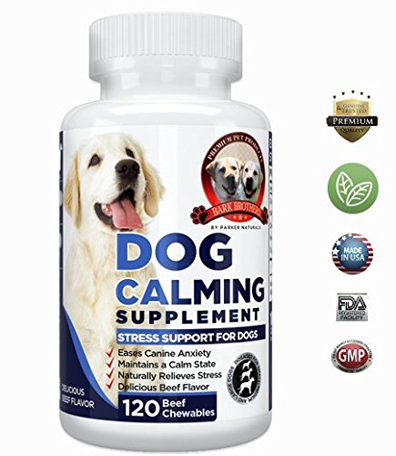 Natural Dog Calming Formula Supplement Soothes Canine Anxiety, Helps Keep Dogs Calm, Relieves Stress, Limits Barking & Chewing Fur. 120 Natural Chewables, Made in USA, 100% Guaranteed Quality by Parker Naturals
