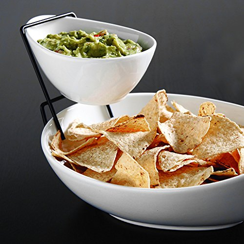 Chip 2 Tier (2 Tier Serving Stand,Durable Ceramic Food Display Stand – Chip and Dip, Appetizer Platter - Great for Chips, Dips, Salad and Other Snack Foods)