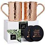 Gold Stamp & Co Quality Moscow Mule Mugs Set: 2 Hammered 100% PURE Copper 16 Oz Cups plus 2 Wooden Coasters, Exceptional Craftsmanship, Classic