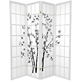 Oriental Furniture 6 ft. Tall Lucky Bamboo Shoji Screen - White - 4 Panels