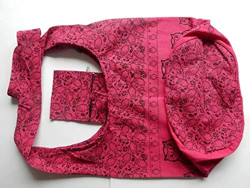 Fait Rose Un Coton Chouettes Motif Bandoulière Boutique Sac Canvas En Thai Main Avec Ariyas À La ZSxEwq67