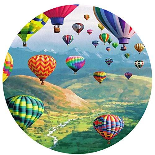 (Zeajant Round Area Rug Non-Slip Colored Hot Air Balloon Entrance Rug Floor Mat Door Mat Rug Indoor/Outdoor/Front Door/Bedroom Mats)