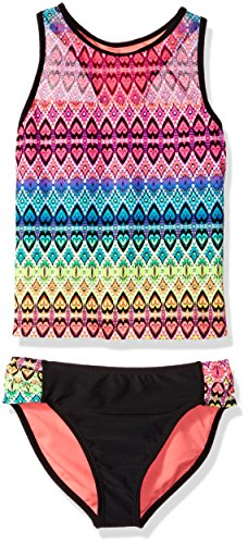 Angel Beach Big Girls' Swim Global Love Tankini Set, Multi, 12