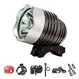 Diateklity Bicycle Headlights 1200 lumen Cree T6 LED Mountain Bike Light 4800mAh Battery - Rechargeable & Waterproof - FREE Taillight Included (black)