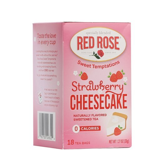 Red Rose Sweet Temptations Naturally Flavored Sweetened Tea (0 Calories) 18 Tea Bags (Strawberry (Sweet Cheesecake)