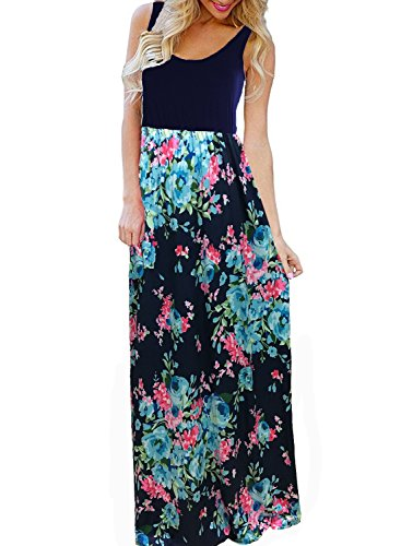 BLUETIME Women's Summer Boho Sleeveless Floral Print Tank Long Maxi Dress (Navy Blue, ()