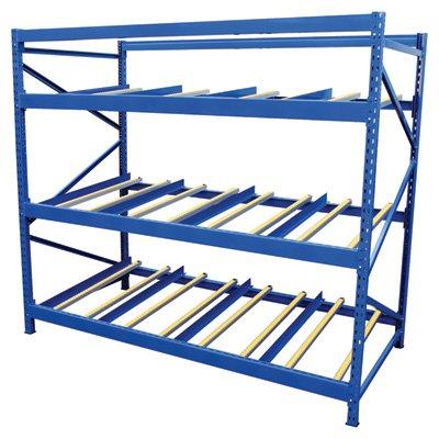 Vestil FLOW-3-3 Carton Flow Rack with Gravity Fed Rollers, 3 Flow Levels, 84