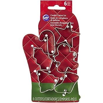 Wilton 2308-5076 Juego de cortadores para galletas, guante térmico navideño, 6 piezas