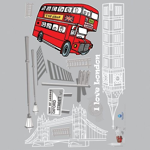 Famous Landmarks of London, England (Big Ben, Tower Bridge, Red Double Decker Routemaster Bus, Oxford Street) - Removable Home Decoration Wall Sticker Decal (Bridge Double Decker)