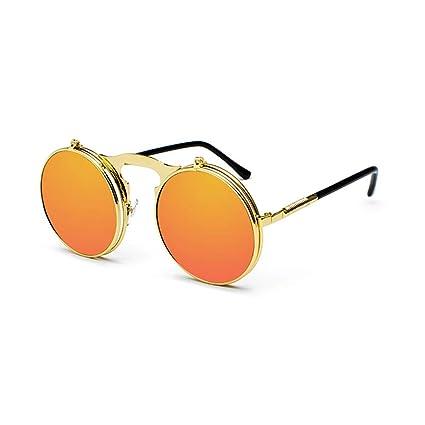 ZCF Retro Doble Clamshell Gafas de Sol Masculino Metal ...