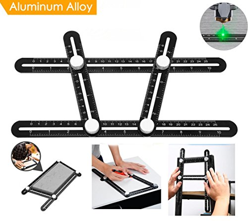Multi Angle Measuring Ruler, BOMPOW Aluminum Alloy Multi Angle Ruler Template Tool Layout Tool Measurement for Handymen, Builders, Craftsmen, DIY-ers, Black