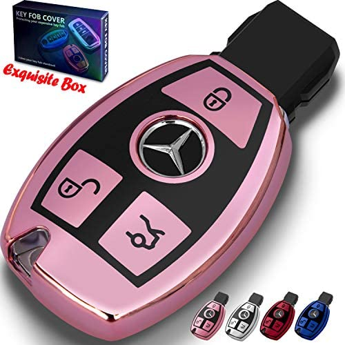 for Mercedes Benz Key Fob Cover Key Fob Case for Mercedes Benz C E M S CLA CLS CLK GLC GLK G Class Premium Soft TPU Full Cover Protection for Mercedes Benz Smart Remote Key Fob Holder (Pink)