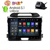XTRONS 9 inch Android 5.1 Quad Core HD Capacitive Touch Screen Car Stereo Radio In Dash Player GPS OBD Built-in DAB+ Tuner for Kia Sportage 2010-2016 Reversing Camera Included