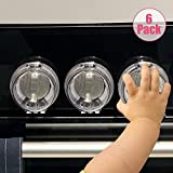 Eudemon 6 Pack Safety Children Kitchen Stove Gas Knob Covers & 12 Pack US Type Socket Plug Covers (6 Pack, Clear)