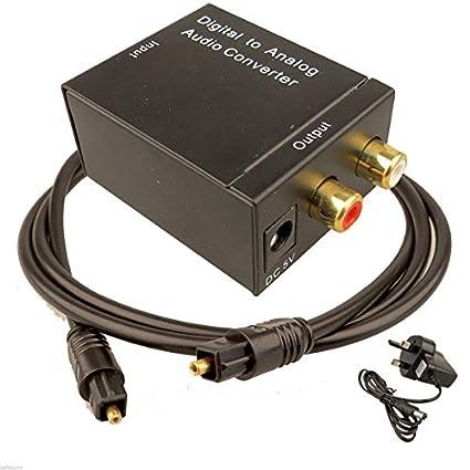 Digital óptica Toslink a Coaxial entradas de Audio RCA L/R Cable adaptador: Amazon.es: Electrónica