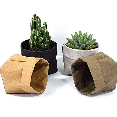 (4Pack-4''x4''x7.8'' Mini Succulents Kraft Paper Flower Pot Cover Decoration Folding Washable Kraft Paper Storage Bag Container for Fruit Food Succulent Planting Household Wrap Pet (M))