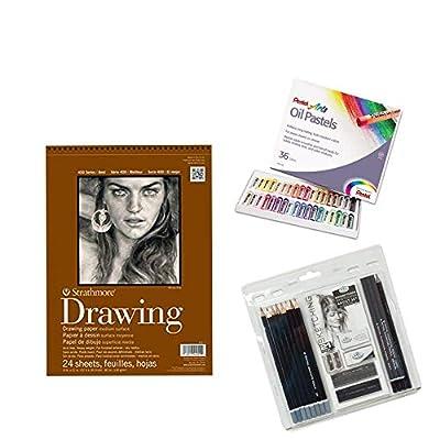Sketching Art Set, Bundle of 3, Royal Langnickel Essentials Sketching Art Set 21 pc, Pentel Arts Oil Pastels 36 Colors, Strathmore Drawing Paper 24 Sheets