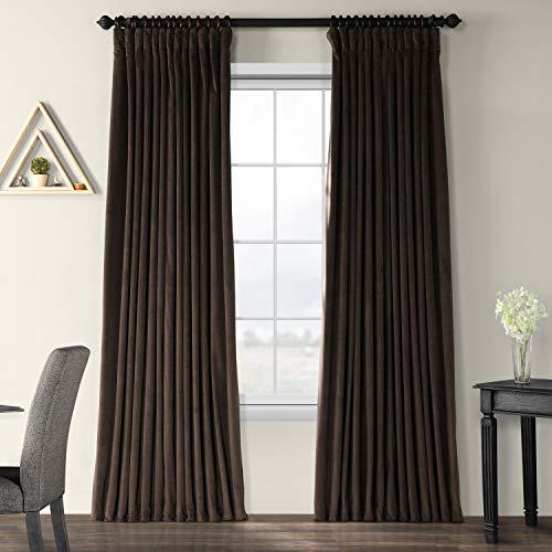 Half Price Drapes VPCH-VET1214-84 Signature Doublewide Blackout Velvet Curtain, Java, 100 X 84