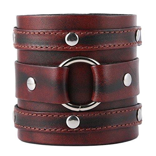 HZMAN Wide Cuff Wrap Gothic Wristband Punk Rock Biker Wide Strap Leather Bracelet (Brown) by HZMAN