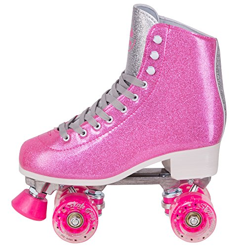 Cal 7 Sparkly Roller Skates for Indoor & Outdoor Skating, Faux Leather Quad Skate with Ankle Support & 83A PU Wheels for Kids & Adults (Pink, Youth 5 / Women's 6)