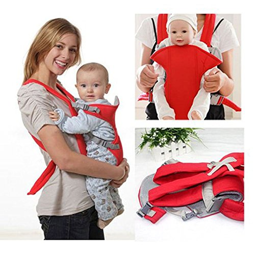 CdyBox Adjustable Infant Baby Carrier Newborn Kid Sling Wrap Front Back Rider Backpack Pouch Bag Original Ultralight Miracle (Red) by CdyBox