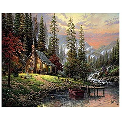 Voberry Puzzles for Adults 1000 Piece, Autumn Forest River Quiet Cabin Landscape Warm Oil Painting Jigsaw Wooden Puzzles Toys for Adults Family Wall Decoration 27.56 x 19.69 inch (Multicolor): Toys & Games