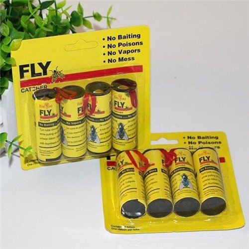 Sticky Fly (EatingBiting(R)4 Rolls Insect Bug FLY Glue Paper Catcher Trap Ribbon Tape Strip Sticky Flies / use in closets, basements, garages, storage areas, utility areas, attics, stored boats)