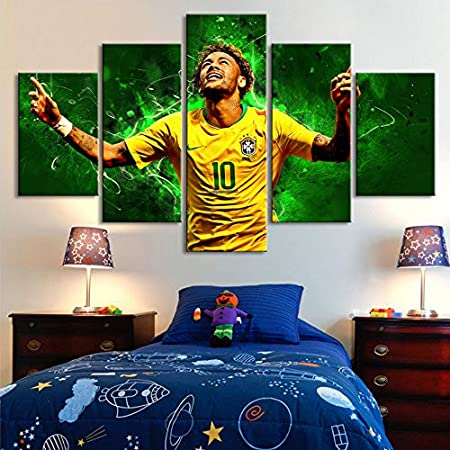 5 pieces canvas painting 5 Pieces Paintings Brazil Football Stars Neymar Posters Wall Canvas Sports Fans Wall Art Posters Kids Room Home Decor lzmlzm