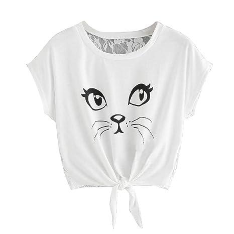 LILICAT Manga Corta Impresa para niñas Adolescentes Blusa Casual Blusas veraniegas para la Moda 2018,