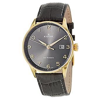 Edox Les Vauberts Date elegante Herrenuhr 8mm flach 70172 37JG GBD